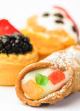 Mix italian  pastries with cannolo Royalty Free Stock Photos