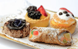 Mix italian  pastries with cannolo Stock Photography