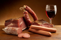 mix italian salami and parma ham Royalty Free Stock Photo