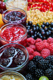 Mix of jams and fruits royalty free stock photography
