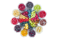 Mix of jams and fruits Stock Photography