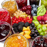 Mix of jams and fruits Royalty Free Stock Image