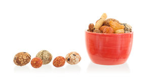 Mix of Japanese nuts. In a small cup Royalty Free Stock Images