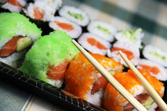 Mix of Japanese sushi and rolls Stock Photo