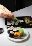 Mix of Japanese sushi and rolls Royalty Free Stock Photography