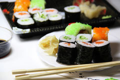 Mix of Japanese sushi and rolls Royalty Free Stock Image