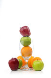 Mix of juicy fruits in glass stock photography