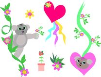 Mix of Koalas, Hearts, and Flowers Royalty Free Stock Photos