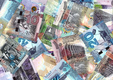 Mix Of Kuwait Banknotes Blended Into A Financial Backdrop Stock Photo