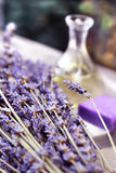 Mix of lavender flowers and cosmetic Royalty Free Stock Images