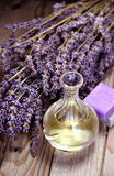 Mix of lavender flowers and cosmetic Stock Images