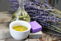 Mix of lavender flowers and cosmetic Royalty Free Stock Photo