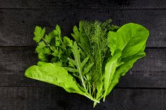 Mix leaf salad on black table. Flat lay. Copy space. Lettuce, mangold, parsley, dill, arugula Healthy diet Clear food Vegan royalty free stock photography