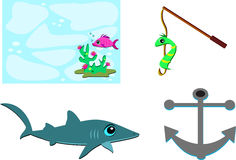 Mix of Marine Items. Here is a shark, fishing pole, line, worm, anchor, fish, and plants which all Royalty Free Stock Photos