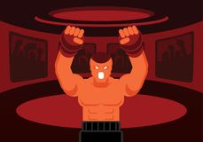 Mix martial art fighter roar on the ring. Mix martial art fighter with black boxer and red glove roaring on the red ring with fans cheer up Stock Images