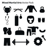 Mix Martial Arts Icons Set. Stock Photo