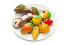 Mix of marzipan and ricotta cannolo Stock Image