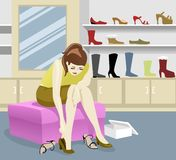Mix and Match 2. A young lady trying new shoes to match her colored outfit Royalty Free Illustration
