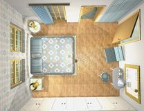 Mix and match bedroom, 3d top view Royalty Free Stock Photos