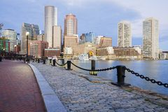 Boston. The mix of modern and historic architecture of Boston in Massachusetts, USA showcasing the Boston Harbor and Financial District Stock Photo