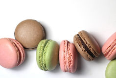 Mix of multicolored French macarons Stock Photos