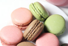 Mix of multicolored French macarons Royalty Free Stock Images