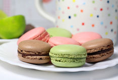 Mix of multicolored French macarons Stock Images