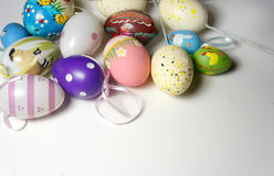 Mix of multicolored vivid Easter eggs Stock Images