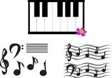 Mix of Musical Notes, Symbols, and Keyboard Stock Photo