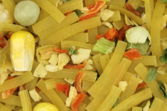 Mix of noodles and vegetables. Close-up Stock Images