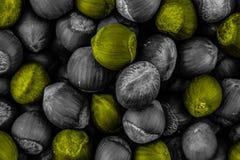 Mix nut hazelnut yellow gray whole dyed toning contrast pattern background base backing ingredient royalty free stock image