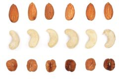 Mix nuts almonds, cashews hazelnuts isolated on white background. Top view. Flat lay.  stock image