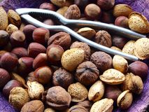 Mix of nuts, almonds and walnuts Royalty Free Stock Photo