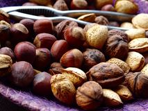Mix of nuts, almonds and walnuts Royalty Free Stock Image