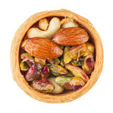 Mix of nuts in a basket Royalty Free Stock Images