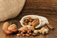 Mix nuts in a burlap bag Stock Image