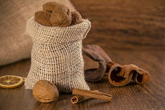 Mix nuts in a burlap bag Stock Photos