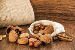 Mix nuts in a burlap bag Royalty Free Stock Photo