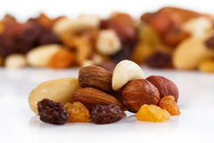 Mix of nuts close up on white Stock Photos