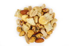 Mix nuts and corn frame Stock Photography