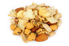 Mix nuts and corn frame on white background Stock Images