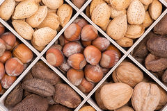 Mix nuts in crate Royalty Free Stock Image