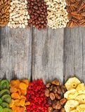 Mix of nuts , dried and candied fruit Stock Images