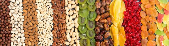 Mix of nuts , dried and candied fruit Royalty Free Stock Photos