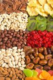 Mix of nuts , dried and candied fruit Royalty Free Stock Image
