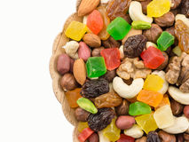 Mix of nuts and dried fruits. Mix of nuts of dried fruits and candied fruits stock photos