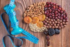 Mix of nuts, dried fruits royalty free stock photo