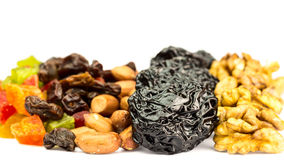 Mix of nuts and dried fruits isolated on white background Royalty Free Stock Image
