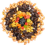 Mix of nuts and dried fruits isolated on white background Stock Images