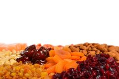 Mix of nuts and dried fruits and sweet turkish delights background royalty free stock photos